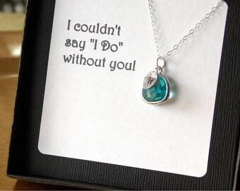 FOUR -BRIDESMAIDS-Dark Aqua Blue Necklaces with stamped initial. Personalized, ocean blue, beach wedding, summer wedding, bridal
