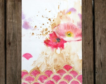 "Archival Print of Original Watercolor ""Scallop Poppy"""