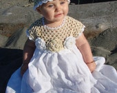 Linen crochet spring / summer dress, hat and shoes / booties for the baby girl and toddlers