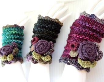 """Time 4 You Fingerless gloves,""""take time to stop and smell the roses"""", Hand Painted Merino Wool hand warmers, various colours available."""