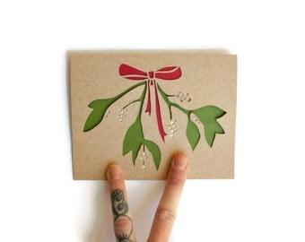 Mistletoe Christmas Card: Laser Cut Mistletoe Card--Custom Text