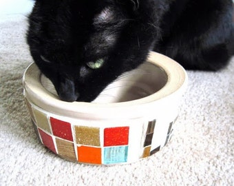 Cat Food Bowl, Cat Water Bowl, Mosaic Bowl, Mosaic Art, Vintage Stoneware Bowl, Pet Bowls, Le Chat Noir, Pet Dish, Cat Food Dish, Cat Bowl