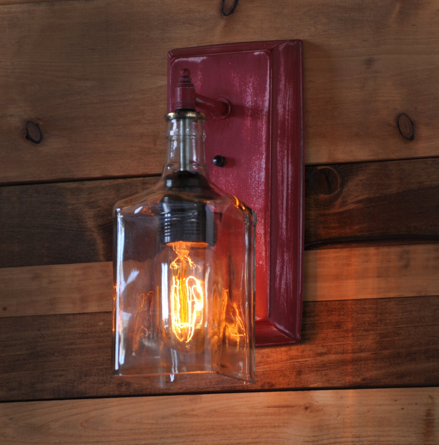 Wall Lamps Etsy : Recycled Bottle Lamp Wall Sconce by MoonshineLamp on Etsy