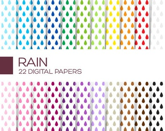 Rain Digital Paper Pack - Scrapbook Printable Background - Rainbow High Resolution Paper - P00067