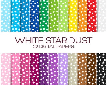 Stars  Digital Paper Pack - Scrapbook Printable Background - Rainbow High Resolution Paper - P00113