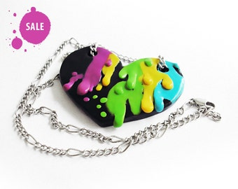 "SALE 40% OFF / Love jewelry / valentines's day, valentine's jewelry, OOAK heart polymer clay necklace / ""The Color of Love"" /"