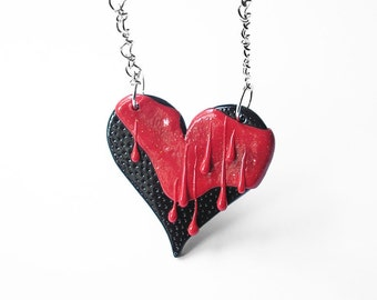 "Art Jewelry / heart necklace, love jewelry, valentines gifts, red paint, polymer clay, OOAK / ""You Melt My Heart"" /"