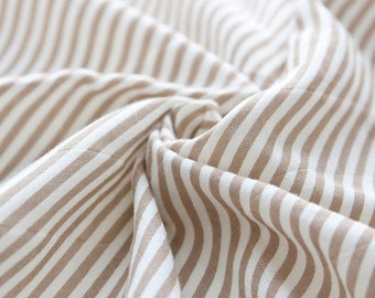 Diagonal Lines Cotton Double Gauze - Sand Beige - By the Yard 40183