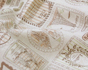 Linen Blend Travel To Europe Collage - Brown - Cotton Linen By the Yard 40719