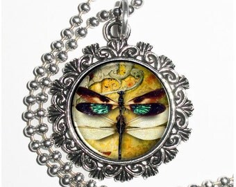 Pair of Green, Black and Yellow Dragonflies Art Pendant, Steampunk Resin Charm Necklace