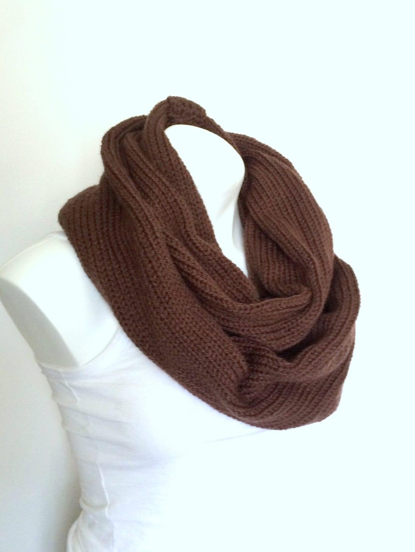 Brown Knit Infinity Scarf Tube Scarf Men Women Teen Warm