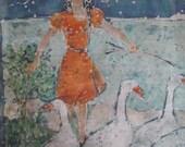 Vintage Large Signed 1981 Foust Originals BATIK Art Painting Wall Hanging