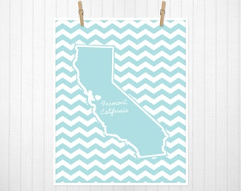 State Heart Print, State Print, State Poster, State Sign, State Art, Chevron, Custom Color  - 11x14