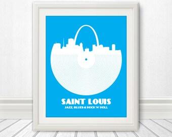 Saint Louis, Jazz, Blues and Rock 'n' Roll, Print, St Louis, St. Louis Art, St Louis Poster, St Louis Print, Saint Louis Sign