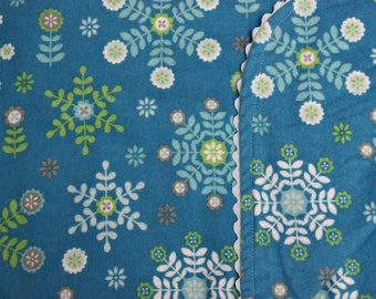 Blue Flannel with White and Green Snowflakes Blanket with Blue Ric Rac Trim (Generously Sized)