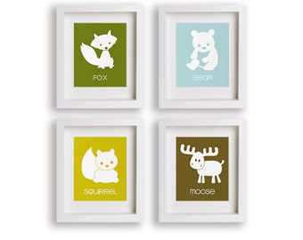 Woodland Animal Nursery Art Prints - Forest Animals, Nursery Decor, Educational, Nursery Art, Children's Art, Fox, Moose, Squirrel, Bear