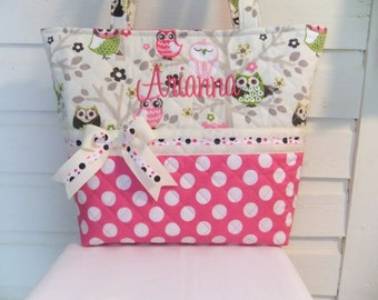 XL Sitn' in a Tree Cute Owls Quilted Purse / Tote / Diaper Bag