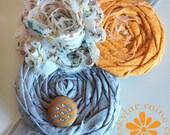 FALL Headband - Orange & Grey HEADBAND - Girls Headband -Adult Headband - Boutique style - Shabby Chic
