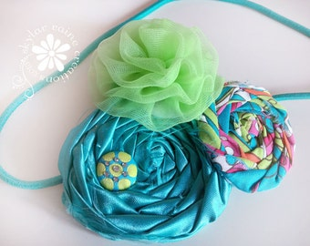 Tropical BLUE Boutique Headband -Double Rosette Style - Adults & Kids - Shabby Chic - Teal and Green Headband
