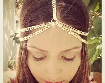 Thick Head Chain, Coachella, Boho hair, Hippy, Hipster, Gold or Silver Plated