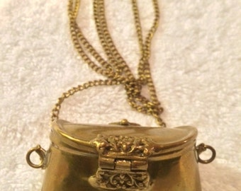 Sale - Vintage European Small Purse Necklace with Patina in Tact on Long & Lovely Chain