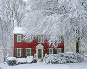 Snow Covered Home in the Winter Photo, Virginia Landscape Winter Photo Art, Framed Photography Option
