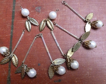 Vintage Pearl and Leaf Long and Short Beaded Dangles