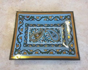 22K Gold Gilt Trim Georges Briard Inspired Glass Dishes - Blue - Green - Gold - Paisley Design Motif - Vintage Home Decor
