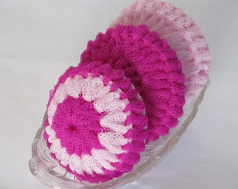 Scrubbies Crocheted Of Nylon Net - Multi Color Scrubbie - Hot Pink Scrubbie And Light Pink Scrubbie