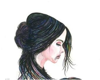 "Fine Art Giclee Watercolor Print ""Momentary Solitude"""