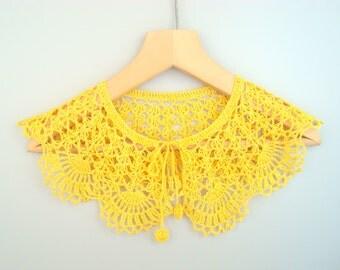 Yellow lace crochet big dress collar Handmade detachable Peter Pan collar Bohemian Crochet necklace fall fashion Summer wedding accessories