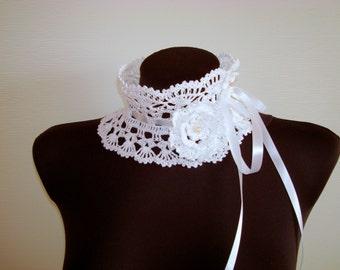 White lace crochet dress collar Handmade detachable Victorian collar collar Bohemian Crochet necklace fashion Festival wedding accessories