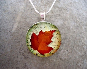 Nature jewelry - Glass Pendant Necklace - Autumn Leaves 1