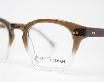 Hicky Freeman Brown Fade 1990s Mens Glasses Vintage 1990's Eyeglasses  Squared Horn Rim Glasses NOS