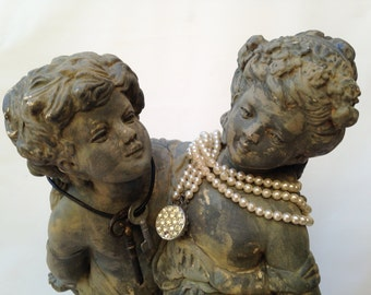 "Large Vintage Marwal ""Lovers Grand"" Chalkware Statue Custom Hand Painted Distressed Finish"