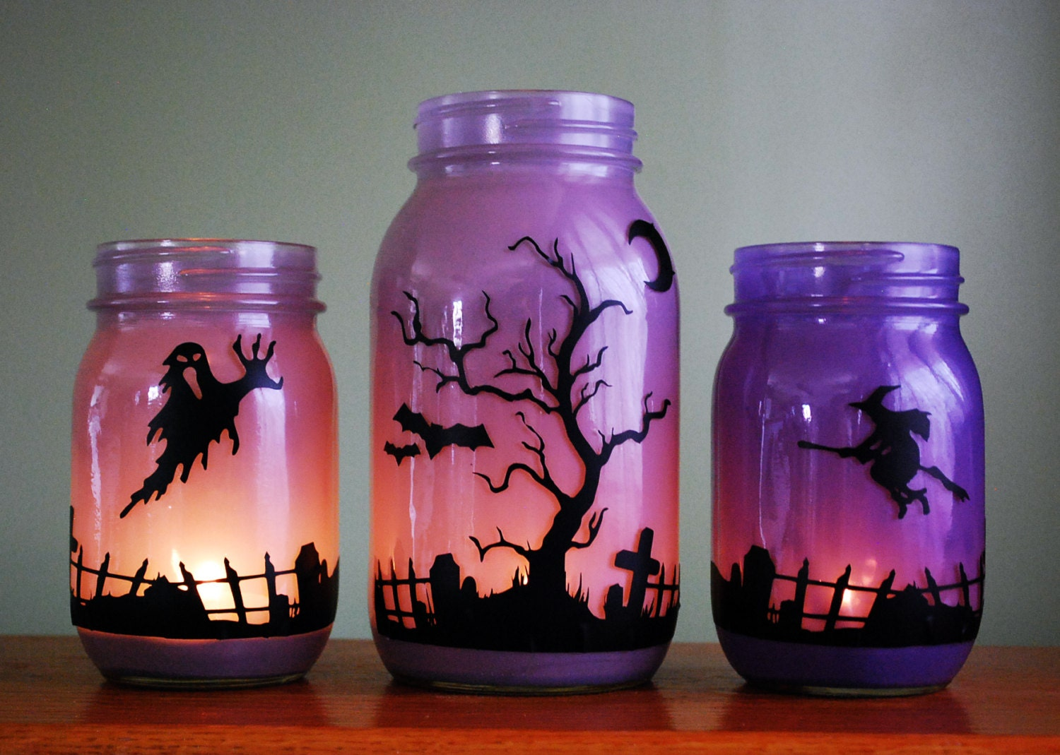 halloween mason jar candle set graveyard