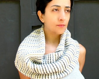 GIFT-SET, Chunky Cowl Scarf in Textured Multi Stripe Wool & Flower Pins. Small Infinity Scarf. Holiday Gift under 50.