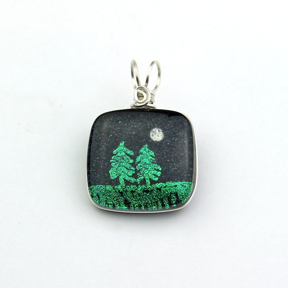 Wire Wrapped Dichroic Glass Pendant With Emerald Green Trees