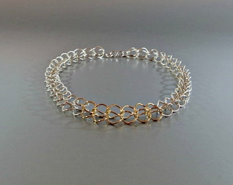 Sterling silver chainmaille necklace / Handcrafted Silver Chainmaille