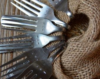 "Bent Fork Hand Stamped  ""EAT"" Napkin ""Rings""- Set of 6"