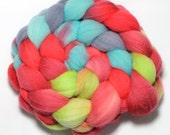 Handpainted roving - Slurpee - Falkland wool, 4 ounces
