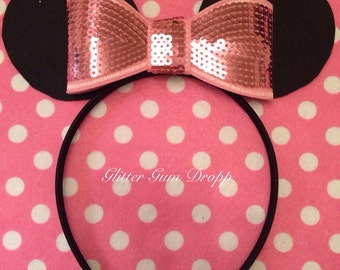Minnie Mouse Ear with Blush Light Pink Sequin Bow Headband for Children to Adult Rose Gold