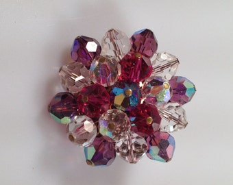 1960s Vintage CRYSTAL Cluster BROOCH Austrian Crystals Multi Color Faceted Crystals Made in JAPAN