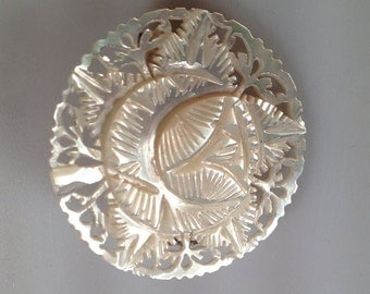 Vintage Brooch MOTHER of PEARL Brooch Hand Carved Pin Floral Brooch Intricate Carving MOP Pin Circle Pin