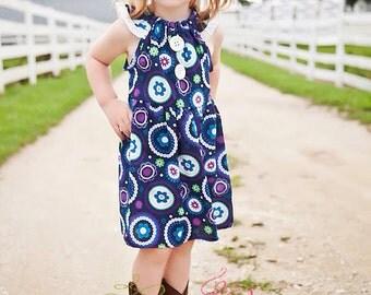 The Ellie Dress , girls dress , blue , flutter sleeves , navy blue with flowers , girls dress , summer dress , spring dress