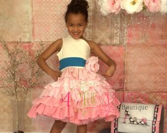 Girls ruffle dress natural pageant dress  flower girl dress party dress  frilly dress off the shoulder dress  pink ruffle dress