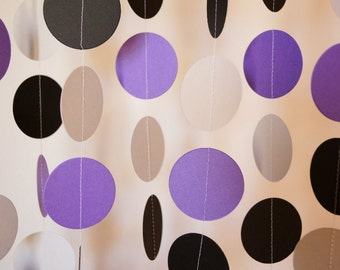 Purple, Gray & Black Circle Paper Garland, Wedding, Bridal Shower, Birthday, Baby Shower, 10 feet long