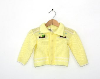 Vintage Sweater in Pastel Yellow with Embroidered Trains