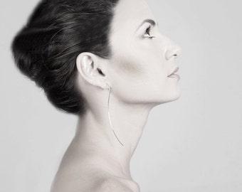 Silver post earrings - Long earrings - Arc earrings - Handmade jewelry by Gioiellibyliat