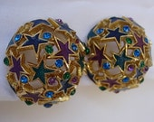Vintage Orena Paris Stars Capri Blue Purple Green Enamel Sparkly Rhinestones Domed Button Clip On Earrings Holiday Christmas New Year's Eve